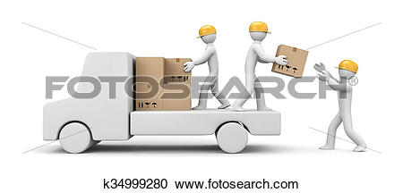 Stock Illustrations of People unload a car k34999280.