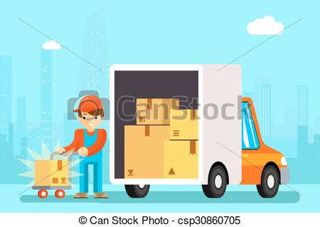 Vector Clipart of Delivery man unload delivery car boxes.