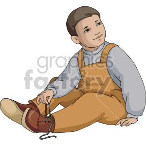 A little boy untying his shoes clipart. Royalty.