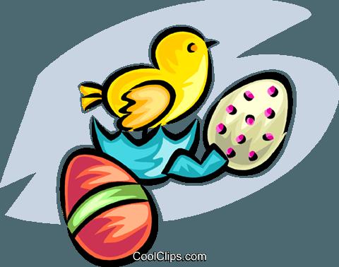 Uovo di Pasqua e pulcino immagini grafiche vettoriali.