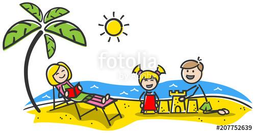 Familie fröhlich am Strand im Urlaub Strichfiguren.