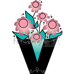 Letter V Vase clipart. Royalty.