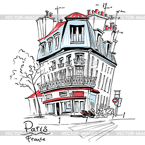 Typical Parisian house, France.