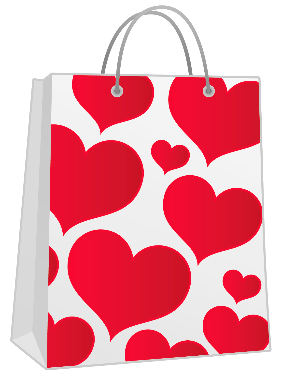 Valentine Red Gift Bag with Hearts PNG Clipart.