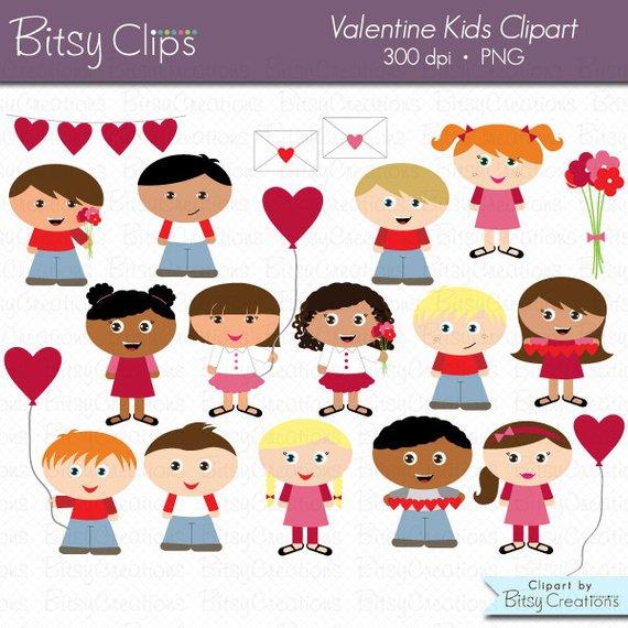 Valentine Kids Digital Art Set Clipart Commercial Use Clip.