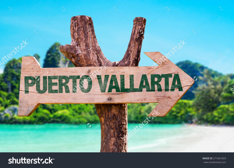 Puerto Vallarta Wooden Sign Beach Background Stock Photo 271661693.