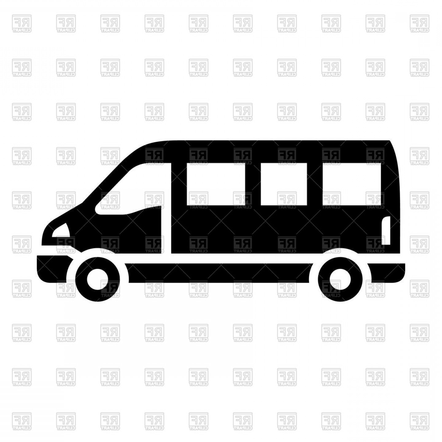 Black Sprinter Van Icon Isolated On White Background Vector Clipart.