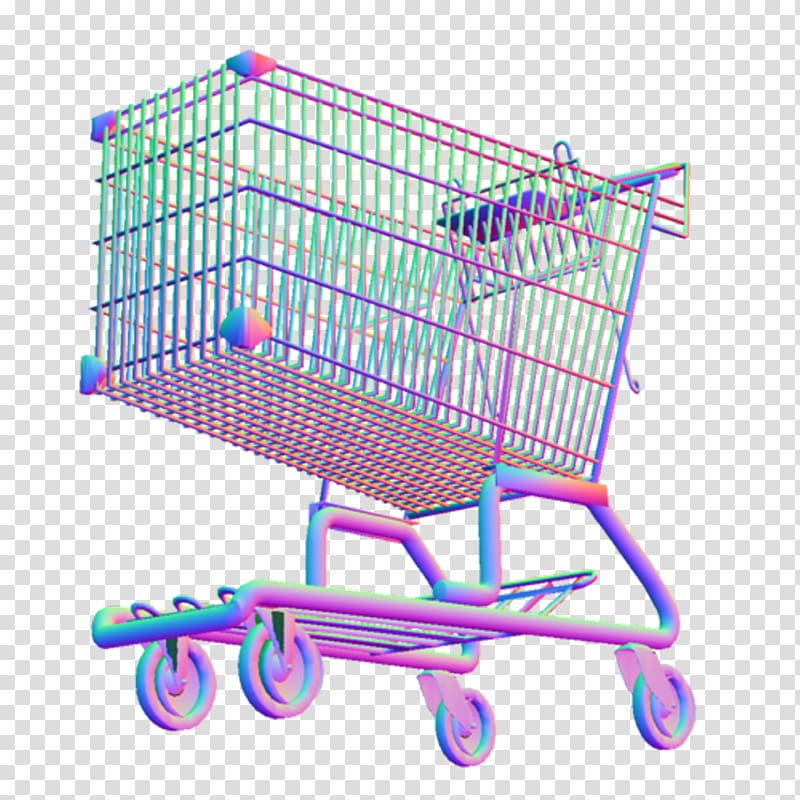 Multicolored wire shopping cart illustration against blue.