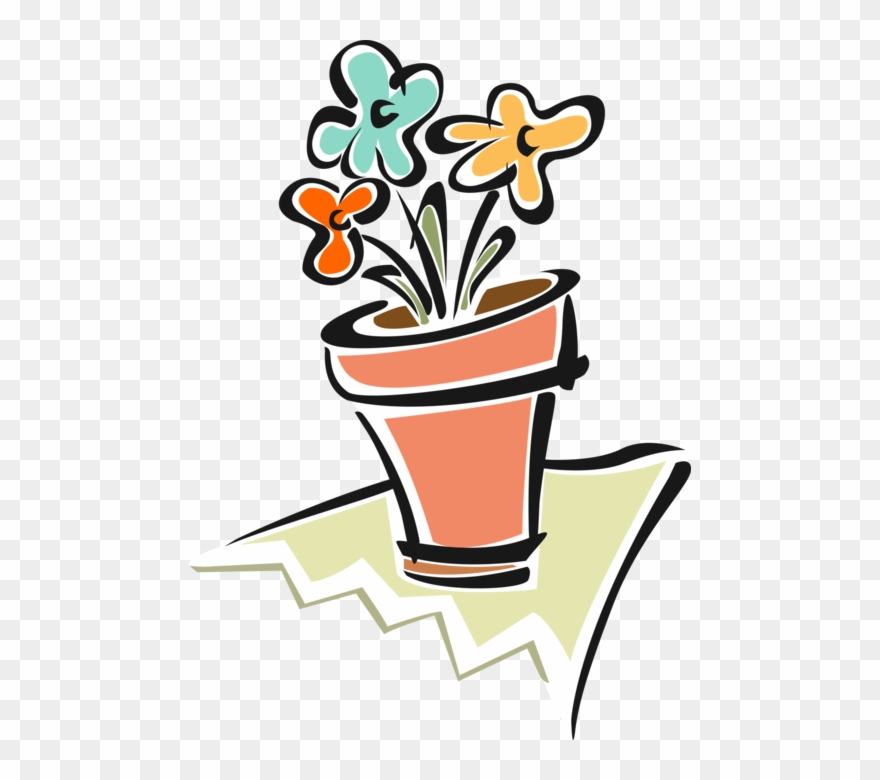 Vector Illustration Of Flower Pot With Flowers.