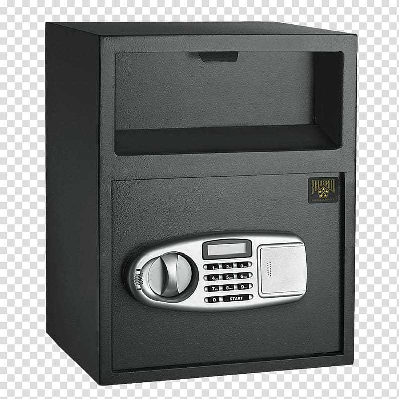 Black and silver metal safe, Personal Money Vault transparent.