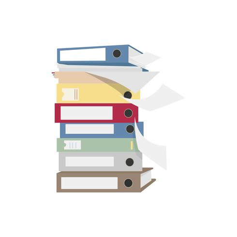 Pile of files and folders graphic illustration.