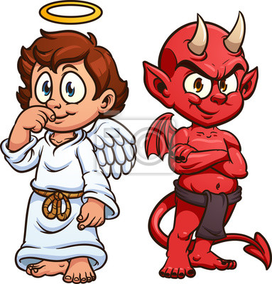 Sticker: Dessin animé ange et diable. illustration de clipart vectoriel.