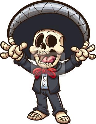 Papiers peints: Joyeux mexican squelette mariachi. illustration de clipart  vectoriel.