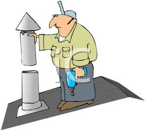 A Colorful Cartoon of a Repairman Fixing a Vent.