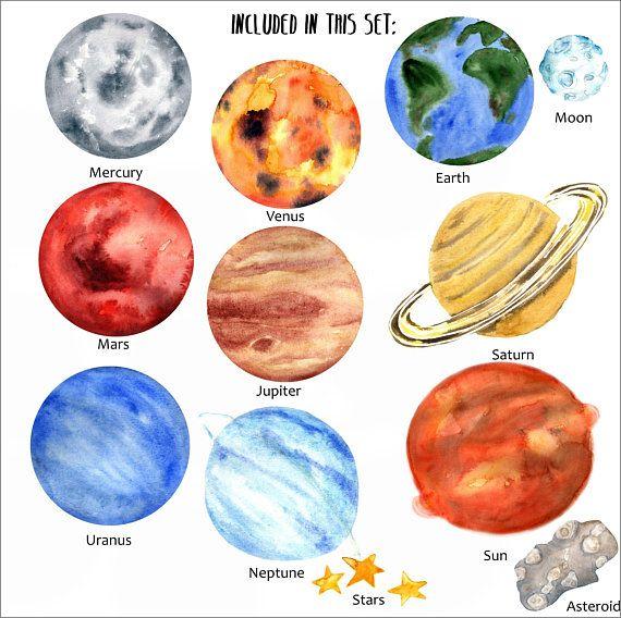 Watercolor Planets Clip Art, Solar System, Science Clip Art.