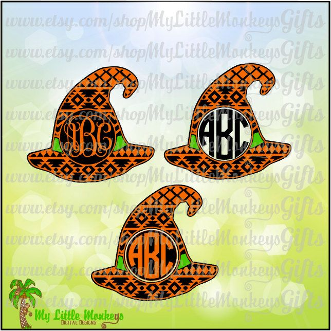 Aztec Pattern Witch Hat Monogram Base Halloween Design.