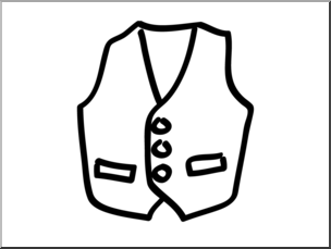 Clip Art: Basic Words: Vest B&W Unlabeled I abcteach.com.
