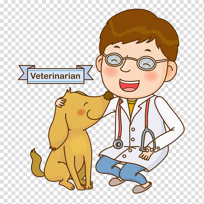 Brown haired veterinarian illustration, Dog , Cute vet.