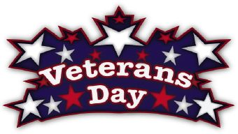 """Clip art of the words """"Veterans Day"""" surrounded by red."""