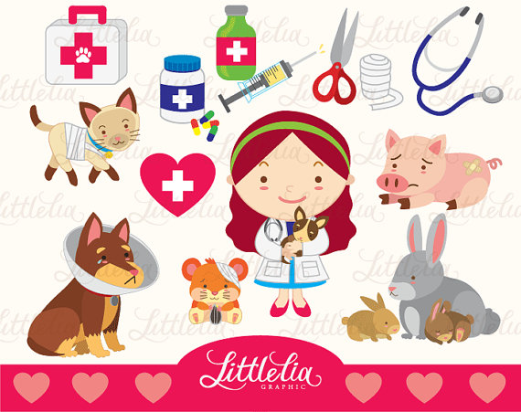 Veterinarian love clipart set/ instant download.