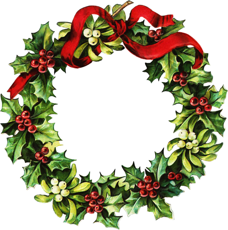 Victorian Christmas Wreath Clipart.