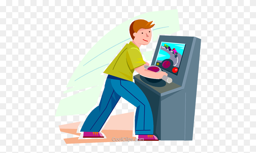 Boy Playing A Video Game Royalty Free Vector Clip Art Illustration.
