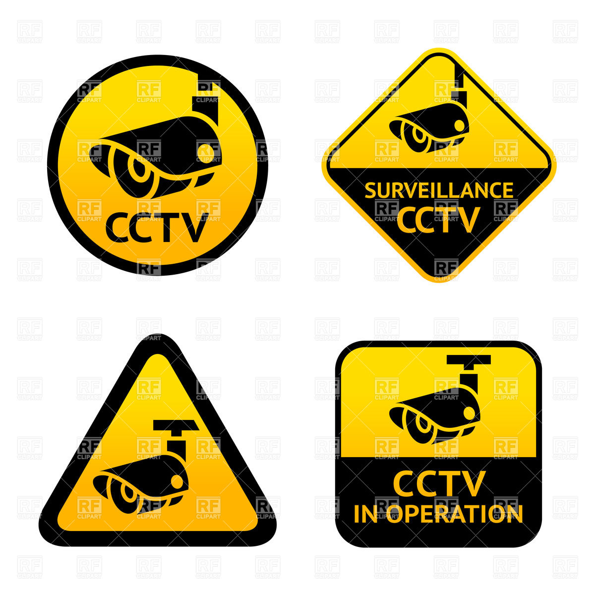 Video surveillance signs Stock Vector Image.