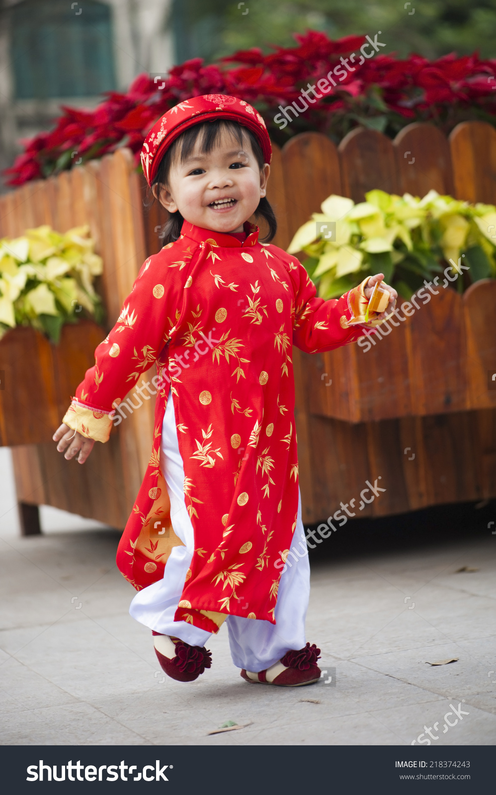 Asia Little Girl Wears Vietnamese Traditional Stock Photo.