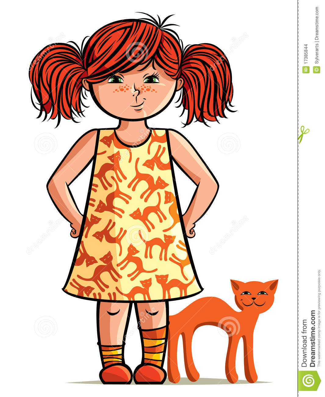 Little Girl with Freckles Clip Art.