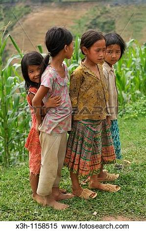 Stock Image of little girls, Ha Giang province, northern Vietnam.