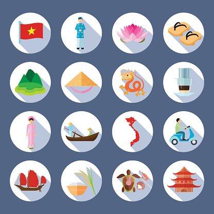 Vietnamese Symbols Flat Round Icons Set premium clipart.