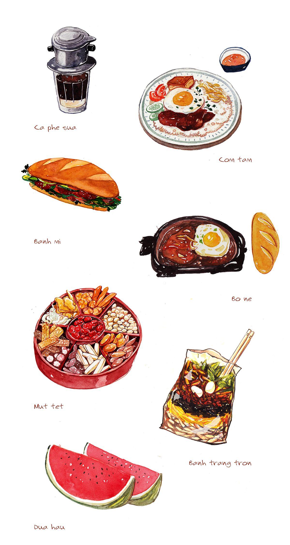 Vietnamese food illustration on Behance in 2019.