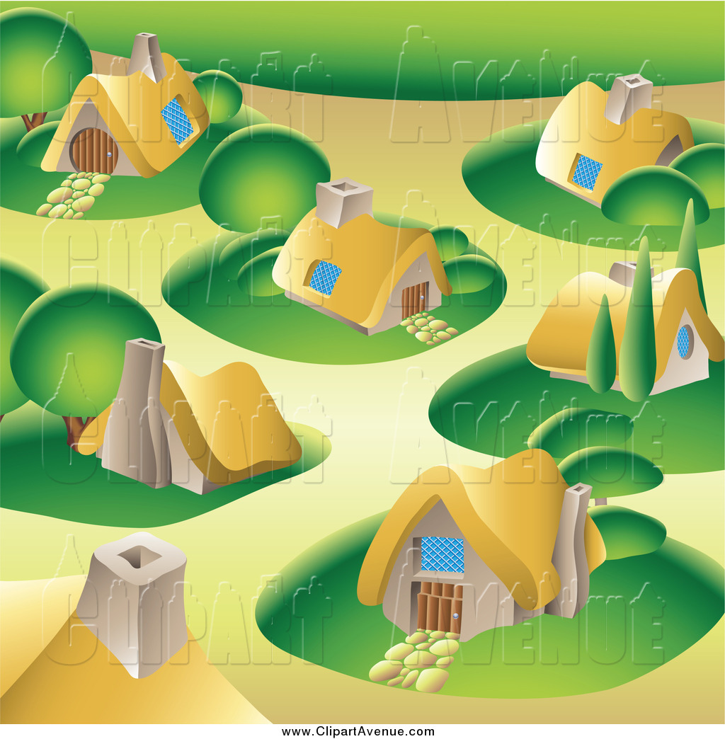 Avenue Clipart of a Village with Cottages and Green Lawns by.
