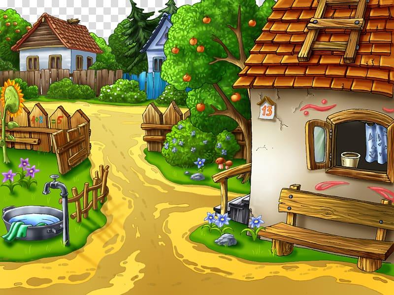 Village Animation Cartoon Desktop , farm transparent.