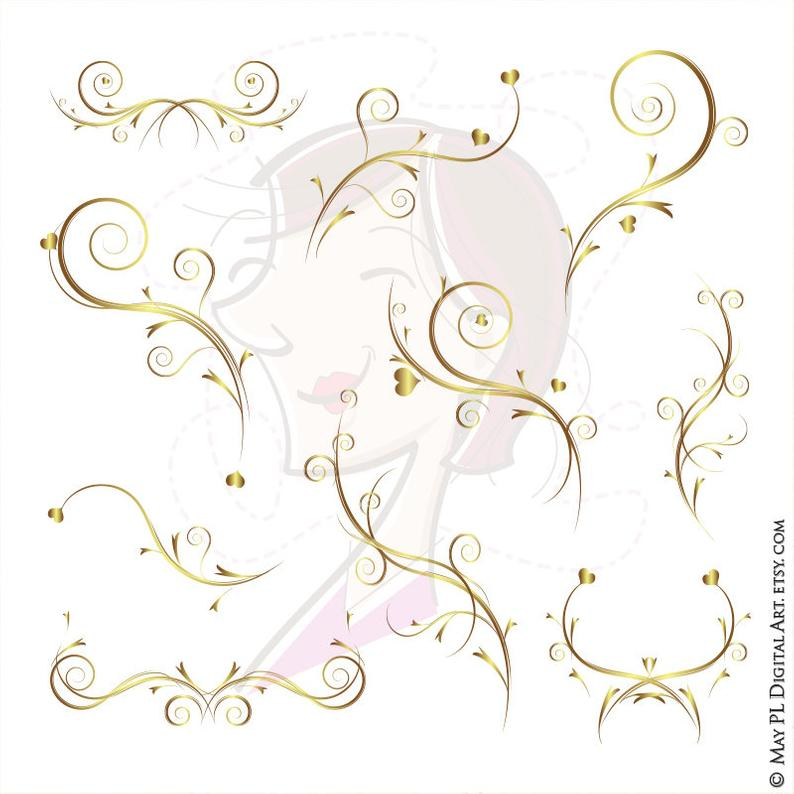 Floral Vine Gold Branches Clipart and Design Elements.