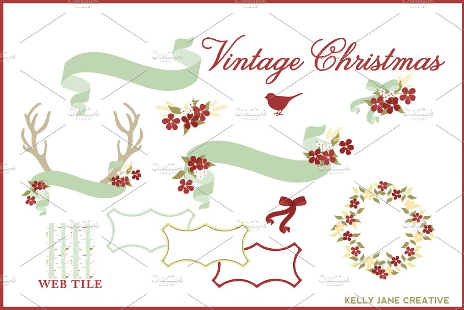 Vintage Christmas Clipart Vector.