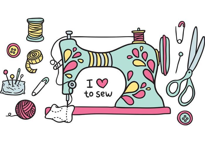 Free vintage sewing machine vector.