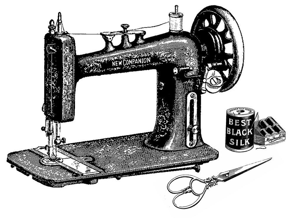 Nightbird Graphics: Vintage Sewing Machine, Scissors and.