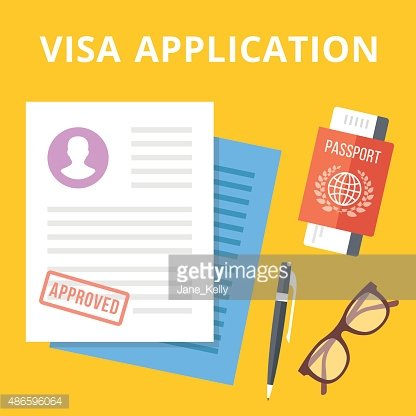 Visa application flat illustration concept. Top view Clipart.