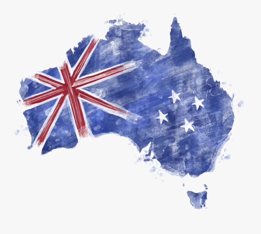 Blue Map Australia Of Watercolor Flag Clipart.