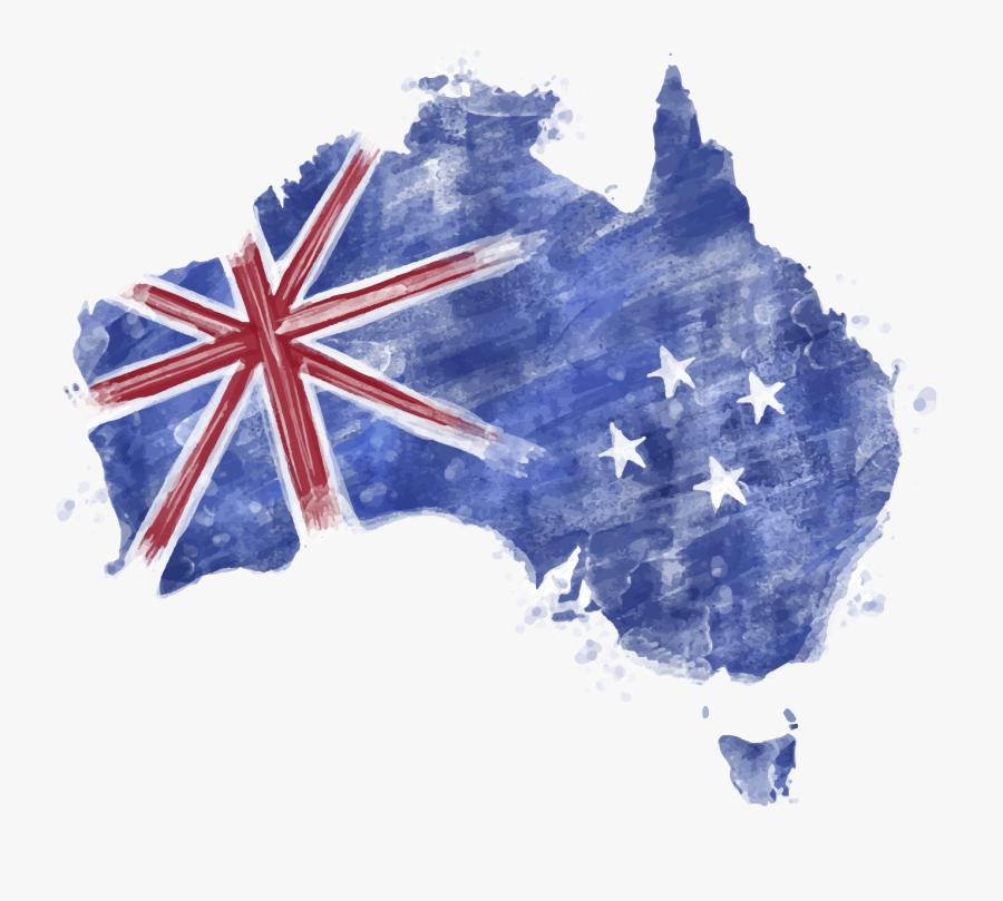 Blue Map Australia Of Watercolor Flag Clipart.