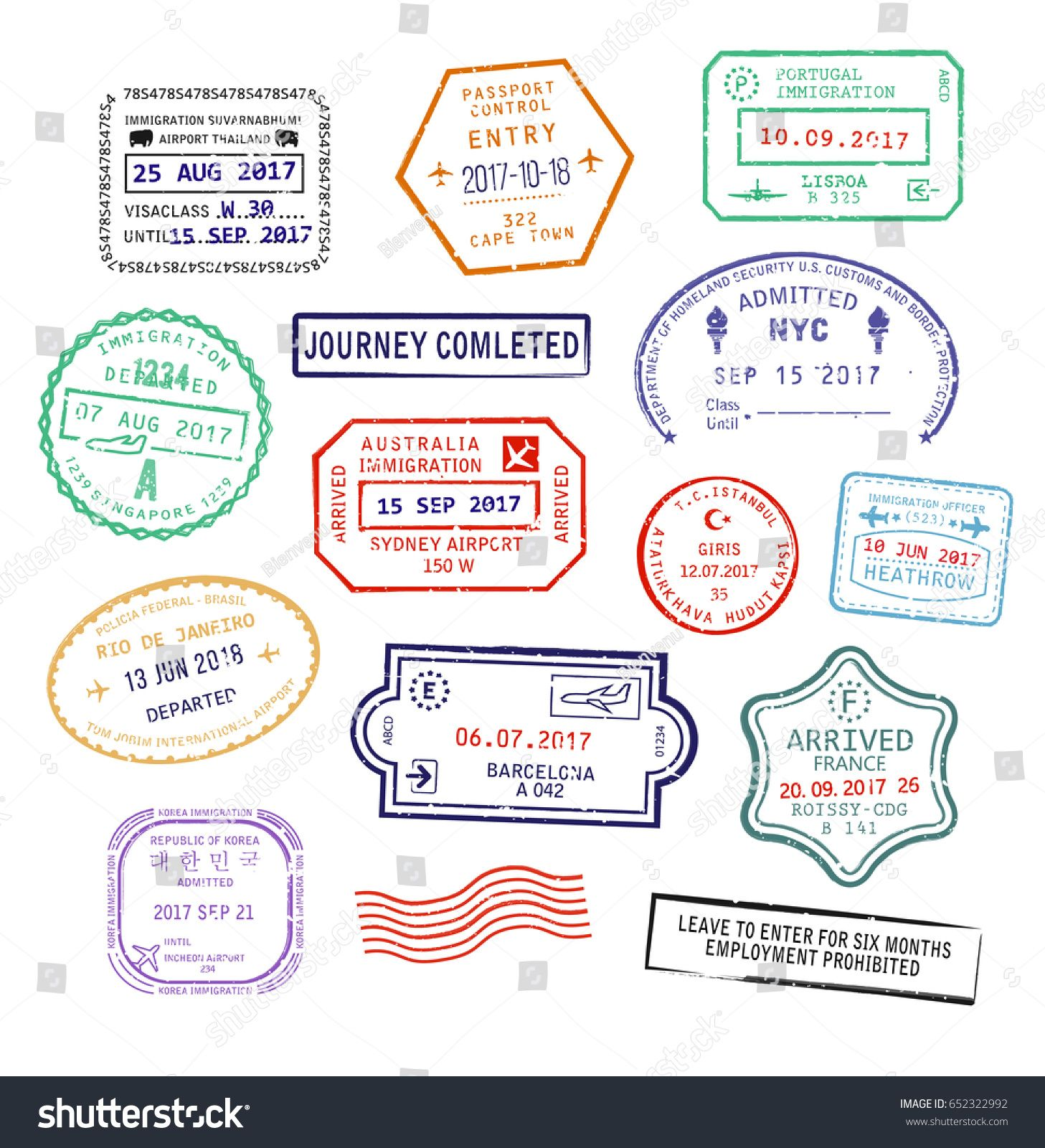 Raster set of isolated visa passport stamps for travel to.