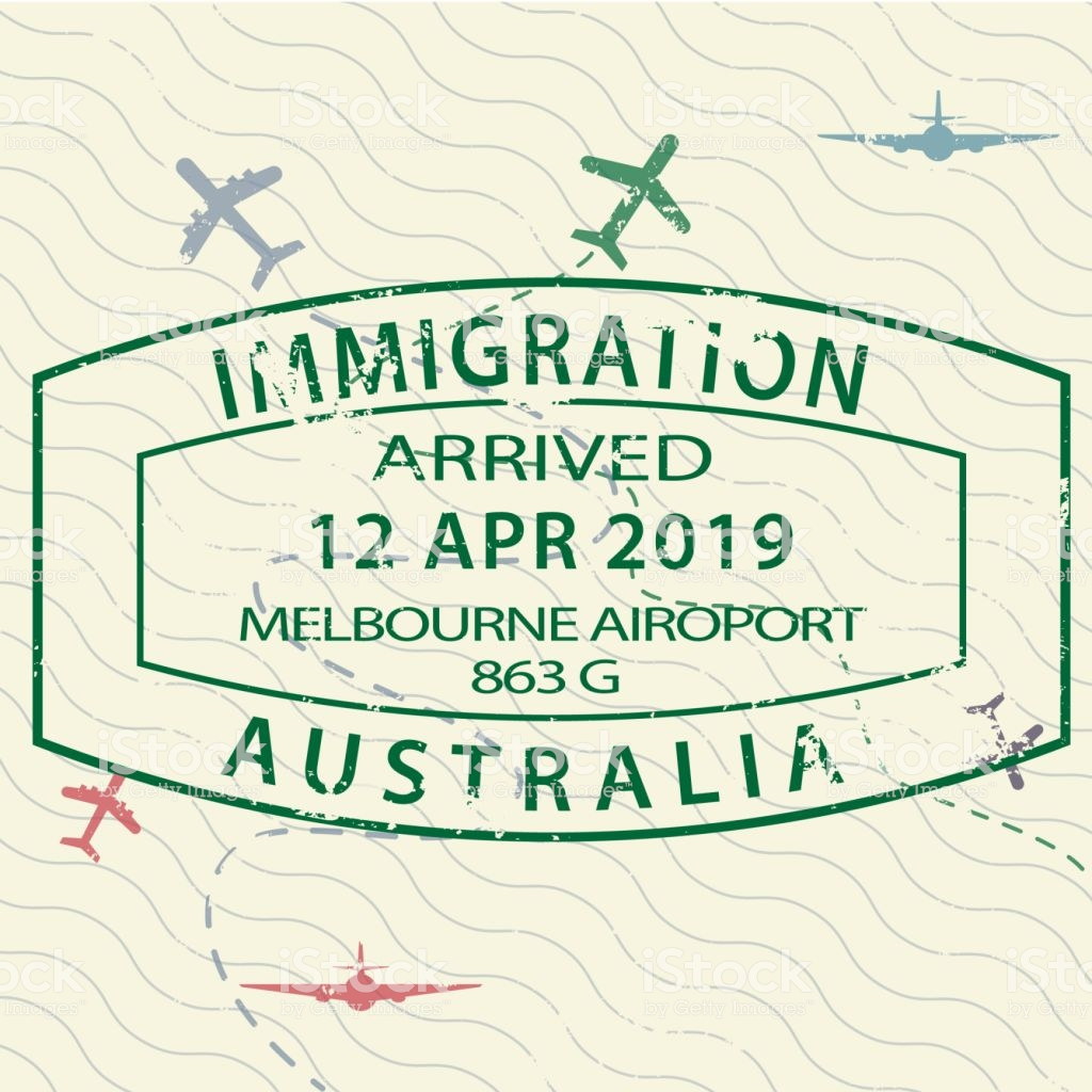 Visa Passport Stamp To Australia Stock Illustration.