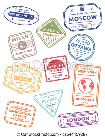 International travel visa stamps..