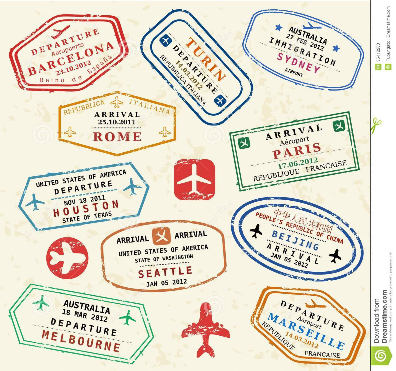 Travel stamps stock vector. Illustration of marseille.