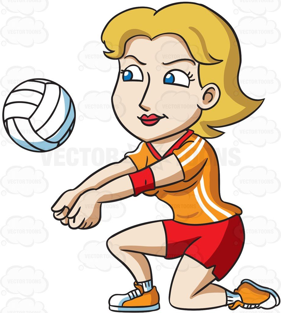 A female volleyball player kneeling to hit a ball #cartoon.