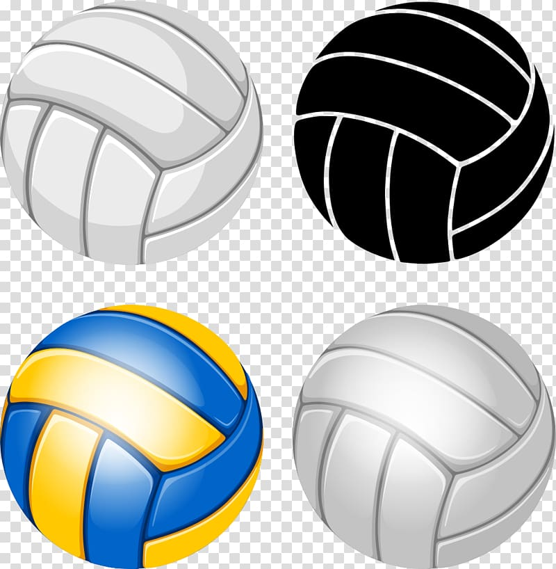 Four white, black, and yellow volleyballs, Volleyball Illustration.