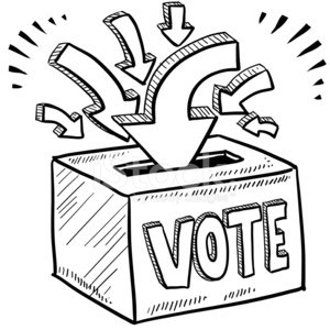 Ballot box voting sketch Clipart Image.