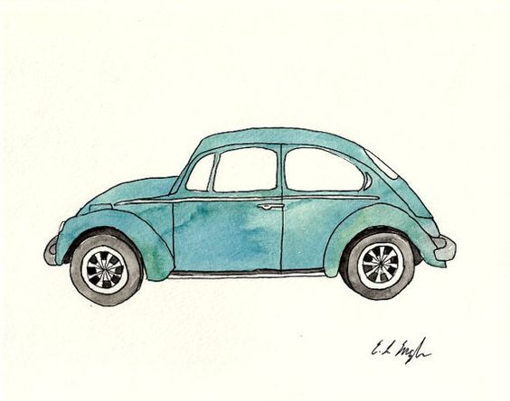 blue vw bug with surfboard clipart.