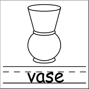 Clip Art: Basic Words: Vase B&W Labeled I abcteach.com.
